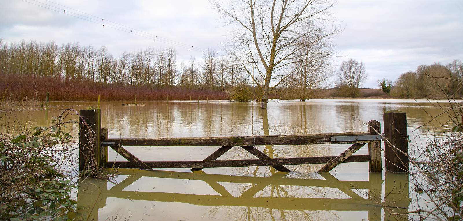 Flood water across field and water well
